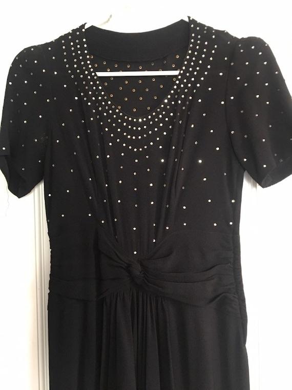 1940s rhinestone glamour Sarong Rayon Crepe Dress