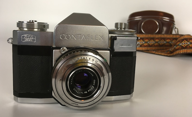 Zeiss Ikon Contaflex II SLR 35mm Film Camera-1950s West German Camera  w/Tessar Lens,Leather Case & Strap