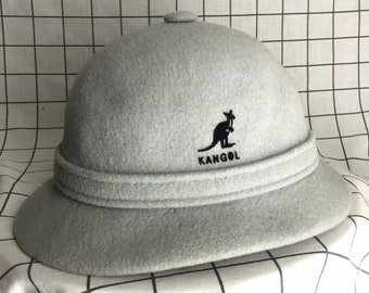 4ac3471b65dab Vintage KANGOL Design Baby Blue Gray Wool Made In England Bucket Hat