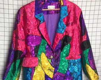 82ad0758e8d2d Vintage Rare Rainbow Collection Bright Satin Pablo Picasso Blazer Jacket