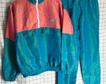 96bb3304b482 Vintage Matching Peach   Teal ACTION SPORTS CAC Iridescent Holographic  Tracksuit Set