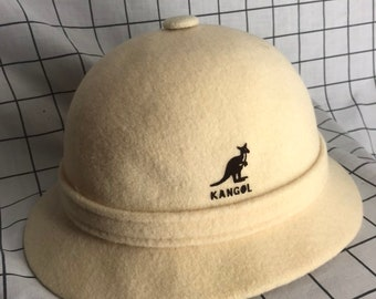 301f3d96d24 Vintage KANGOL Design Creme Wool Made In England Bucket Hat