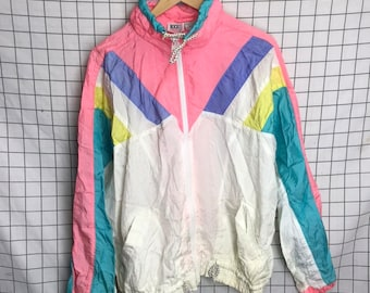 9763d388919 Vintage 80 s 90 s Colorblock Bright Pastel Striped Peach Windbreaker