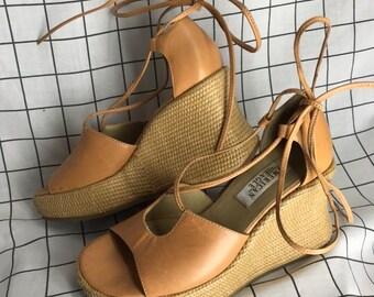 7eb557868b Vintage American Eagle Chunky Weaved Wedge Platform/Flatform Strappy Sandals