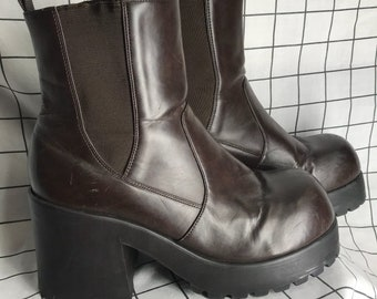 5bc679070b0 Vintage Brown Faux Leather Super Chunky Heel Platform Boots Size 10