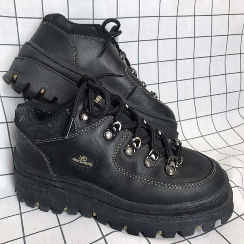 25c60fac8f844 Vintage 90's Classic Super Chunky Jammers Sketchers Black Hiking  Boots/Sneakers Size 6.5