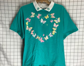 Vintage Spring Heart Butterfly Floral Jesus Cross Collared T-Shirt