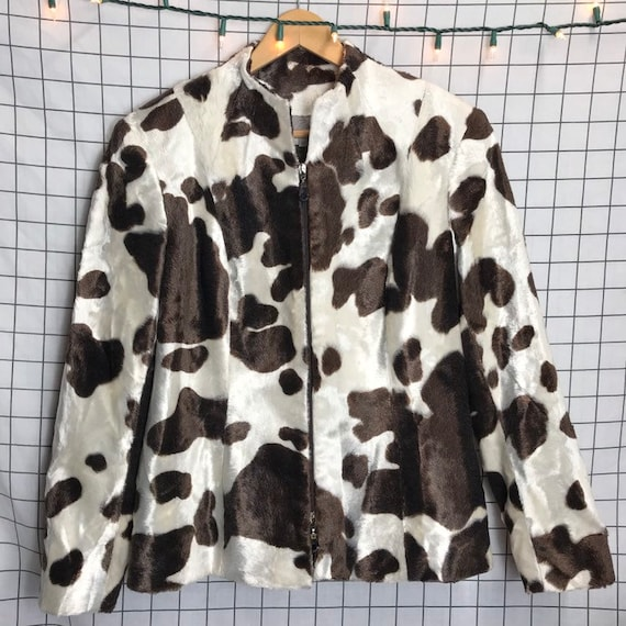 Vintage Plush Faux Fur Soft Cow Print Brown & Whit