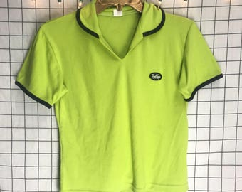 "Vintage 1970's Dollar Store ""Dollar"" Lime Green Cropped Collared T-Shirt"