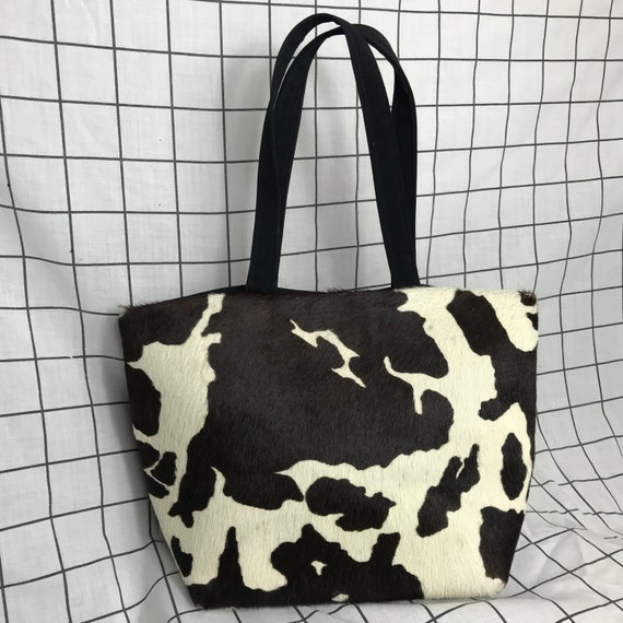 Vintage 90's Y2K Cow Print Real Hair Mini Handbag/