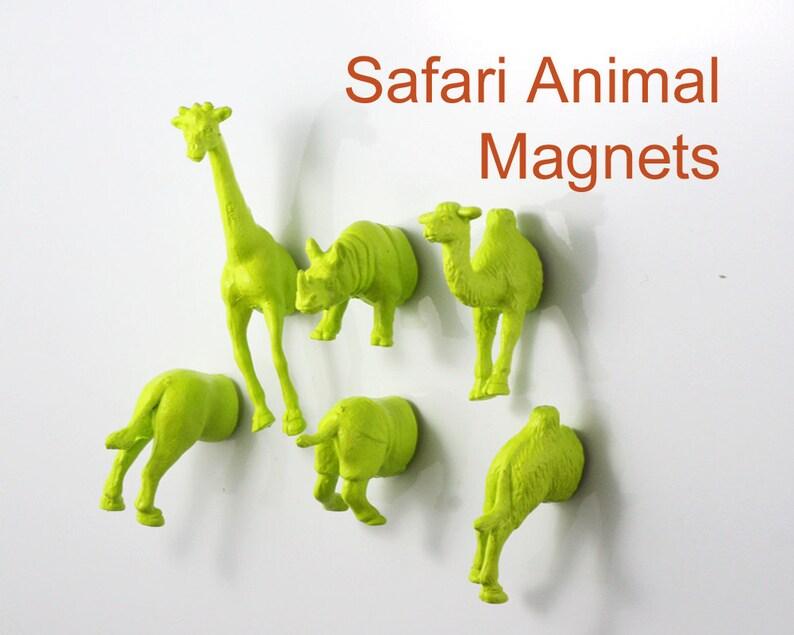 Rhino Apple Green MAGNETS: Giraffe Hippo Tiger 8 piece SAFARI magnet set