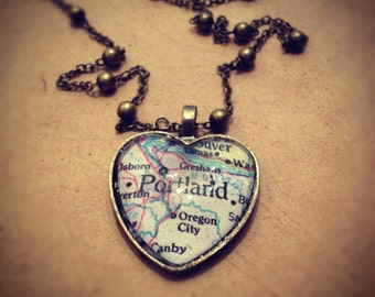 I Heart Portland Map Necklace 17in Chain