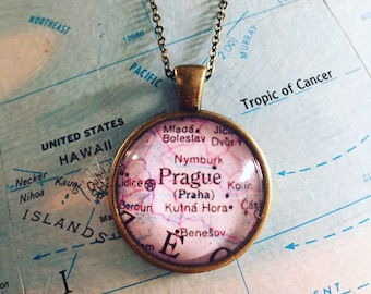 Prague Czech Republic Map Necklace Jewelry 25mm Custom