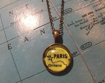 Dainty 14mm Paris, France Map Necklace
