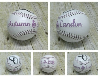 Custom Baseball, Custom Embroidered Baseball, Softball, Embroidered Baseballs, Baseball, Softball, Wedding, Wedding Baseball