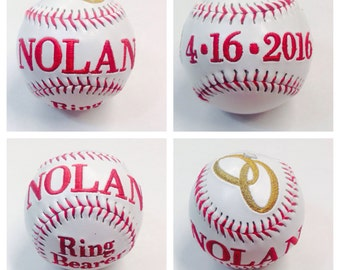 Custom Baseball, Custom Embroidered Baseball, Softball, , Embroidered Baseballs, Baseball, Softball, Ring Bearer, Ring Bearer Baseball