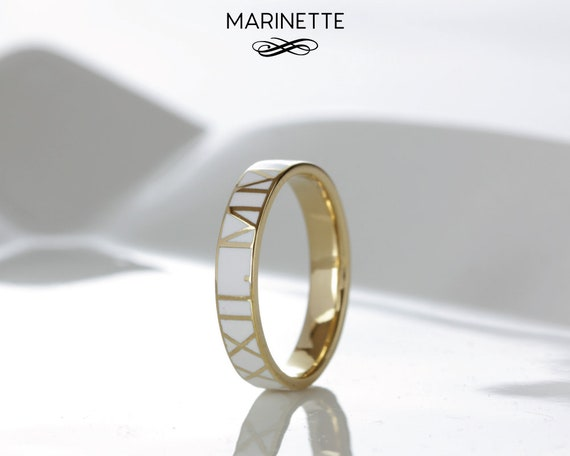 Enamel Ring Gold 14k Solid Gold Ring Ring for Woman Wedding Word Ring Couple Rings Set Promise Ring for Couple Ring for Her Rose Gold