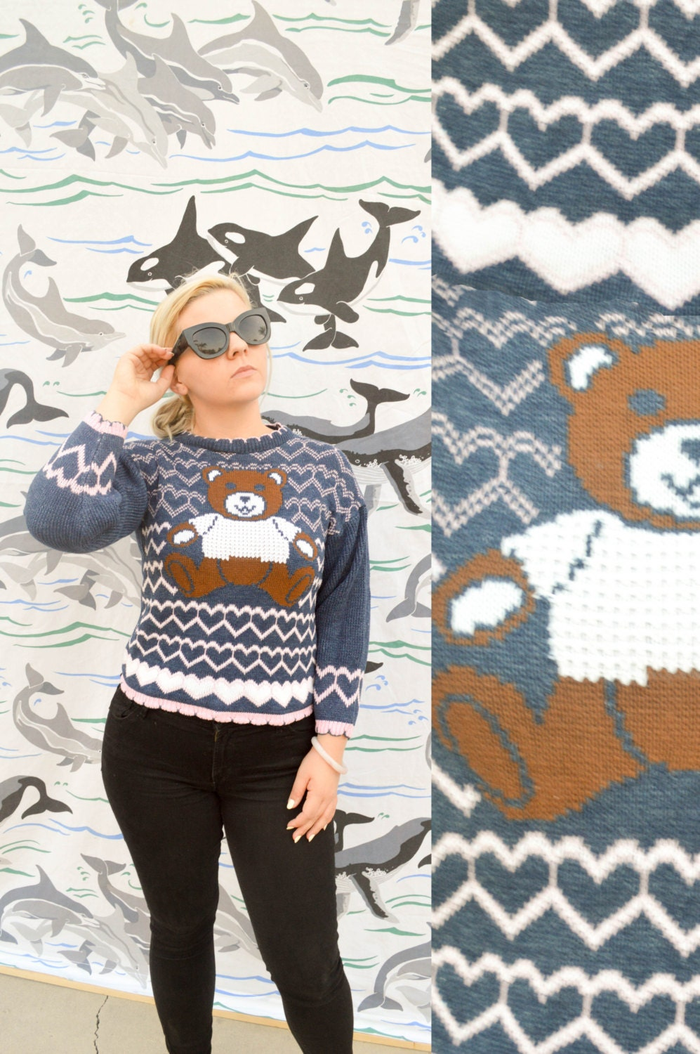 b0349581 TEDDY HEARTS Women's Kids Cute Knit Sweater Small Blue and ...