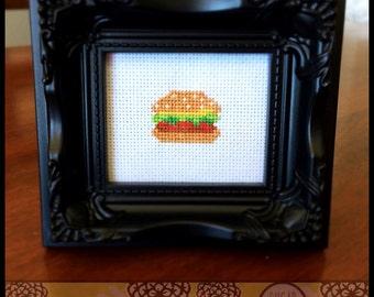 Burger Cross Stitch Pattern Printable PDF