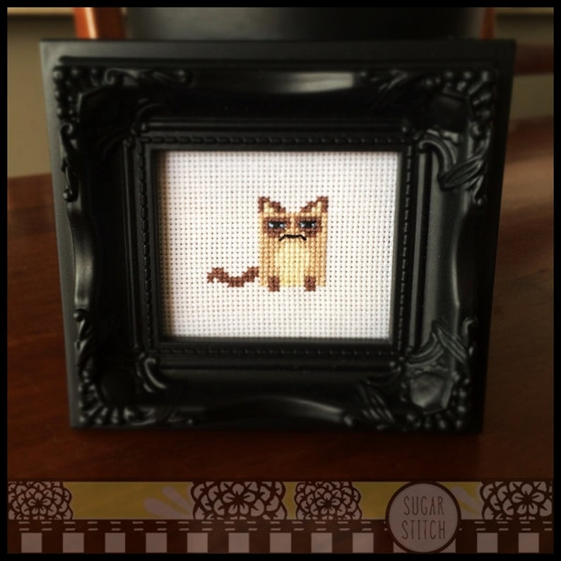 Grumpy Cat Cross Stitch Pattern  Kawaii Version   Printable image 0