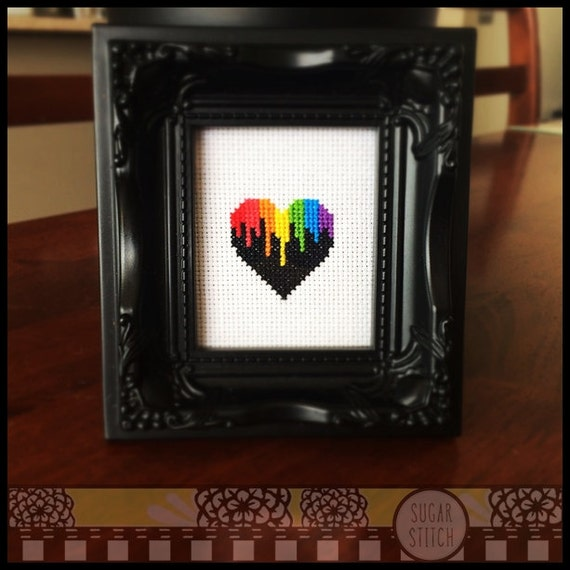 Heart pattern  cross stitch rainbow colors heart Immediate download pdf Rainbow Heart Cross Stitch Pattern Rainbow Heart
