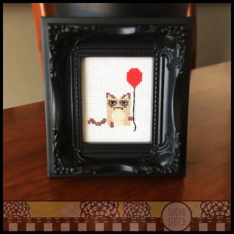 Grumpy Cat with Balloon Cross Stitch Pattern  Kawaii Version image 0