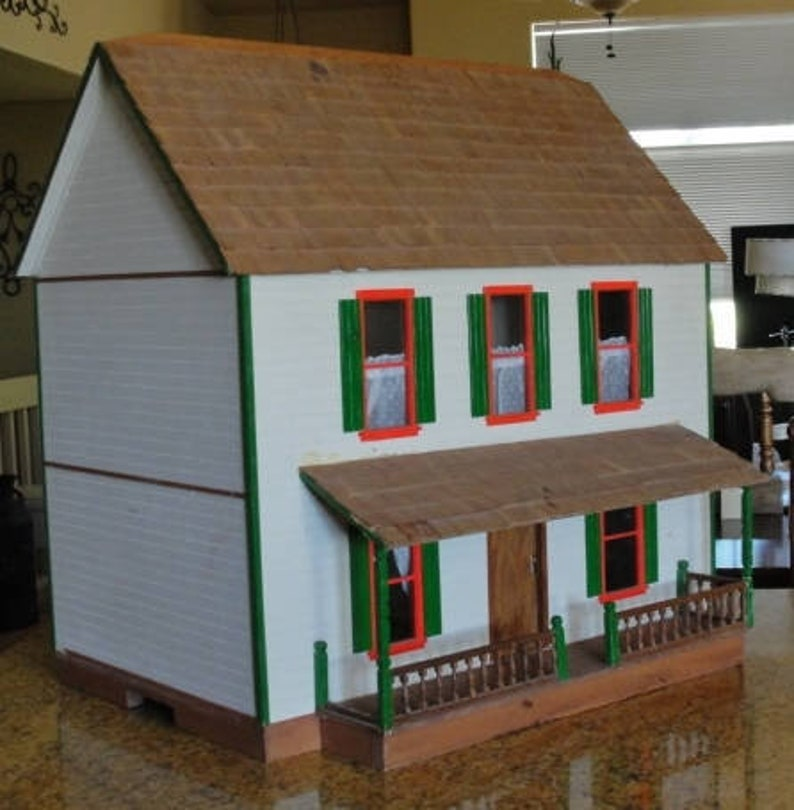 Antique Wood Dollhouse Wood Shingled Roof Glass Pane Windows Front Porch Staircase