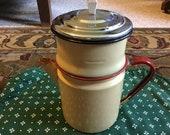Vintage Yelloe Enamel Coffee pot with red and black trim love love