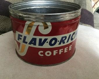 Vintage Flav-o-rich metal coffee tin