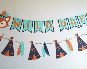 Wild one birthday, Teepee Banner, tribal, aztec, feathers, tepee, banner, indian, baby indian, native american, wild one, fox, bear