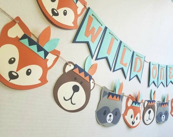 Wild one birthday, tribal animals, tribal, woodland party, wild one banner, indian, baby indian, native american, wild one, fox, bear