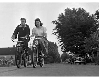 Young Lovers Bicycling, 1940 Original Image from Negative