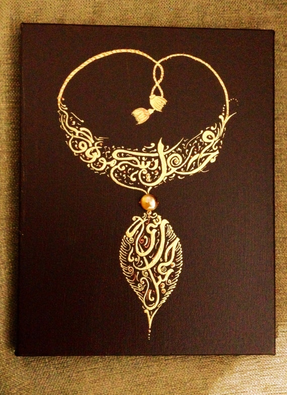 Personalized Arabic Calligraphy Necklace Painting 2 Names