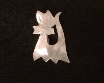 Mother of Pearl Cat Pin