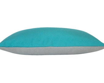 Two Toned Turquoise and Grey Outdoor Pillow Cover in Sunbrella Fabric