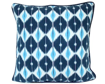 Blue Schumacher Sarong Pillow Cover
