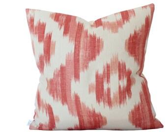 Ready To Ship -- Suzanne Rheinstein Ikat De Lin Pillow Cover in Brick