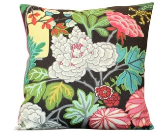 Schumacher Chiang Mai Dragon Pillow Cover in Ebony Featuring Lanterns and Flowers