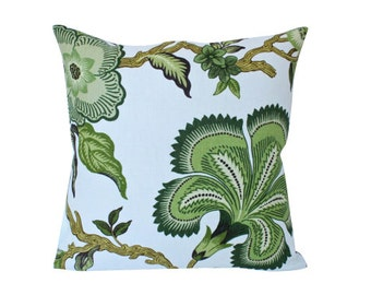 Ready to Ship -- Double Sided Lumbar Pillow cover in Green Hothouse Flower Schumacher