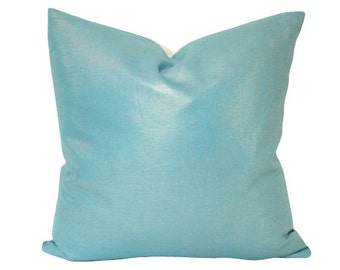 Metallic Teal Linen Pillow Cover - Double Sided