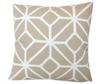 Outdoor Pillow Cover in Schumacher Trellis Print in Sand