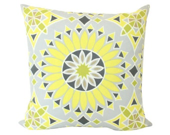 Schumacher Soleil LA Yellow and Grey Outdoor Trina Turk Pillow Cover