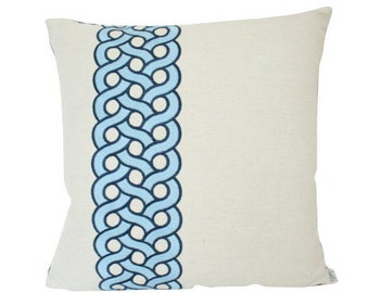 Ready to Ship -- Mandeville Pillow Cover by Timothy Corrigan for Schumacher in Blue Embroidered Linen