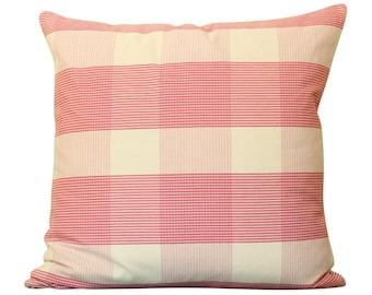 Raspberry Schumacher Avon Gingham Plaid Pillow Cover