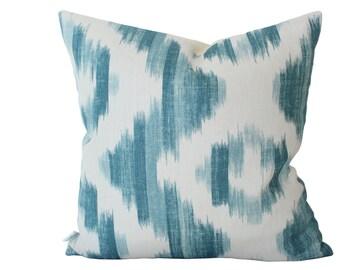 Blue Ikat De Lin Pillow Cover -- Suzanne Rheinstein for Lee Jofa