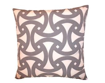 Schumacher Pillow Cover in Fog Grey and Ivory Geometric Santorini Print Trina Turk Design