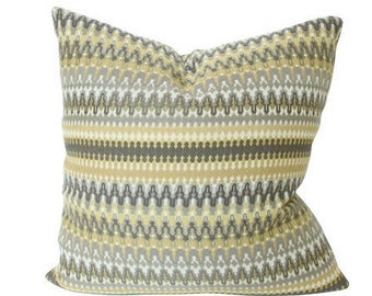 Ready to Ship -- Yellow and Brown Striped Ikat Designer Pillow Cover