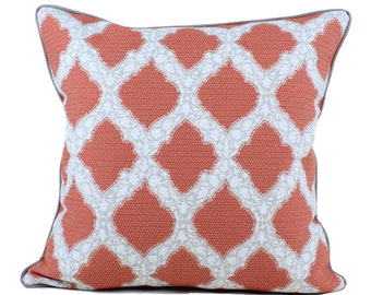 Ready to Ship -- John Robshaw Sami Pillow Cover in Coral with Grey Piping