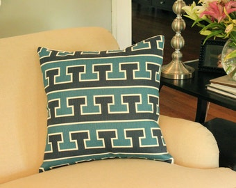 Ready to Ship -- Blue and Turquoise Schumacher Studio Bon Greek T Designer Pillow Cover