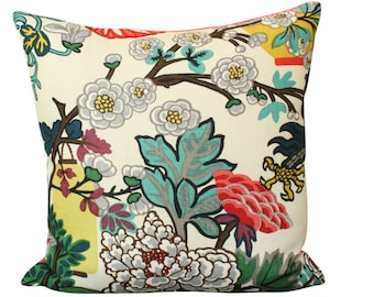 Schumacher Chiang Mai Dragon Pillow Cover in Alabaster- Lanterns and Flowers